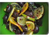 Marinated olives with citrus and spices.