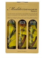 Mediterranean Flavour's Greek Extra Virgin Olive Oil X 3 Bottles in a Paper Box, 3 Diferent Flavor's